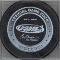 2005-06  Official Game Puck reverse logo. Marked Official Game Puck, OGP became the official sponcer of USHL pucks in 2004. A variation of logo appears every season.  Several teams have also used official game pucks with a sponcer on the reverse as well.